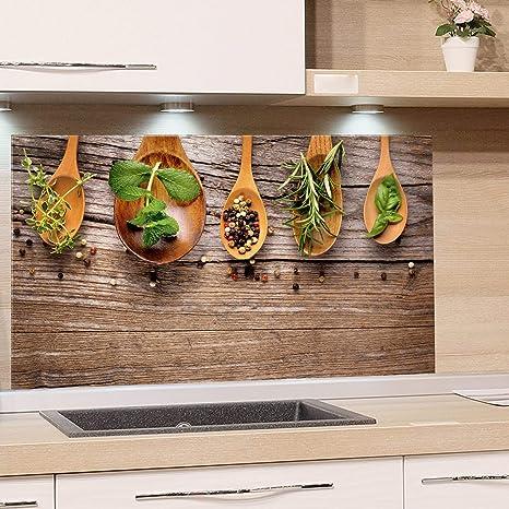 GRAZDesign Glasplatte Küche Holzoptik, Spritzschutz Küche Glas Gewürze,  Wandpaneele Küche Küchenmotiv, Küchenrückwand Glas Kräuter / 80x50cm