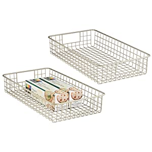 "mDesign Household Metal Wire Cabinet Organizer Storage Organizer Bins Baskets trays - for Kitchen Pantry Pantry Fridge, Closets, Garage Laundry Bathroom - 16"" x 9"" x 3"" - 2 Pack - Satin"