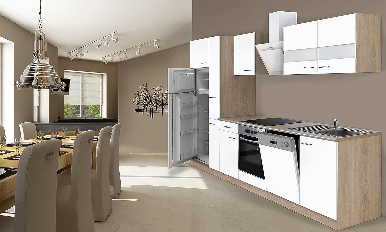 respekta Einbau Küche Küchenzeile 310 cm Eiche Sonoma Sägerau ...