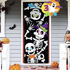 JOYIN 3 Pcs 3D Design Cute Skeleton Family Door Cover 30'' x 72'' for Halloween Door, Window and Wall Cover Decoration