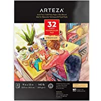 "Arteza 9""x12"" Watercolor Pad, 32 Sheets, 140lb/300gsm, Glue Bound, Cold Pressed, Acid Free Watercolor Paper Pad, Art…"