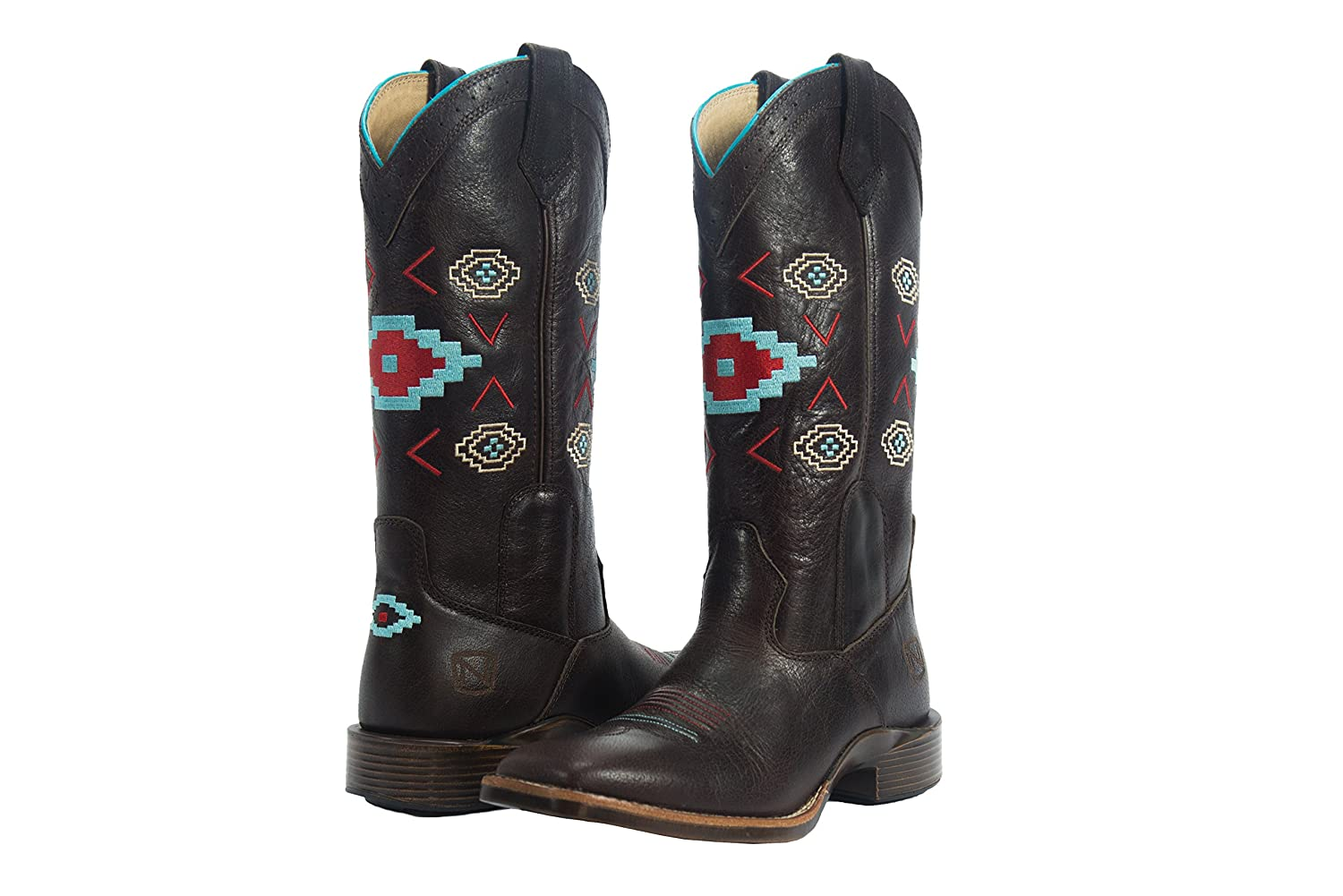 ノーブルOutfitters Western BootsレディースAll Around Aztec Embroidery 66026 6 Vintage Brown B01FHUG5OW