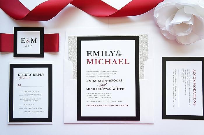 Amazon Com Modern Red And Black Wedding Invitation Sample Set