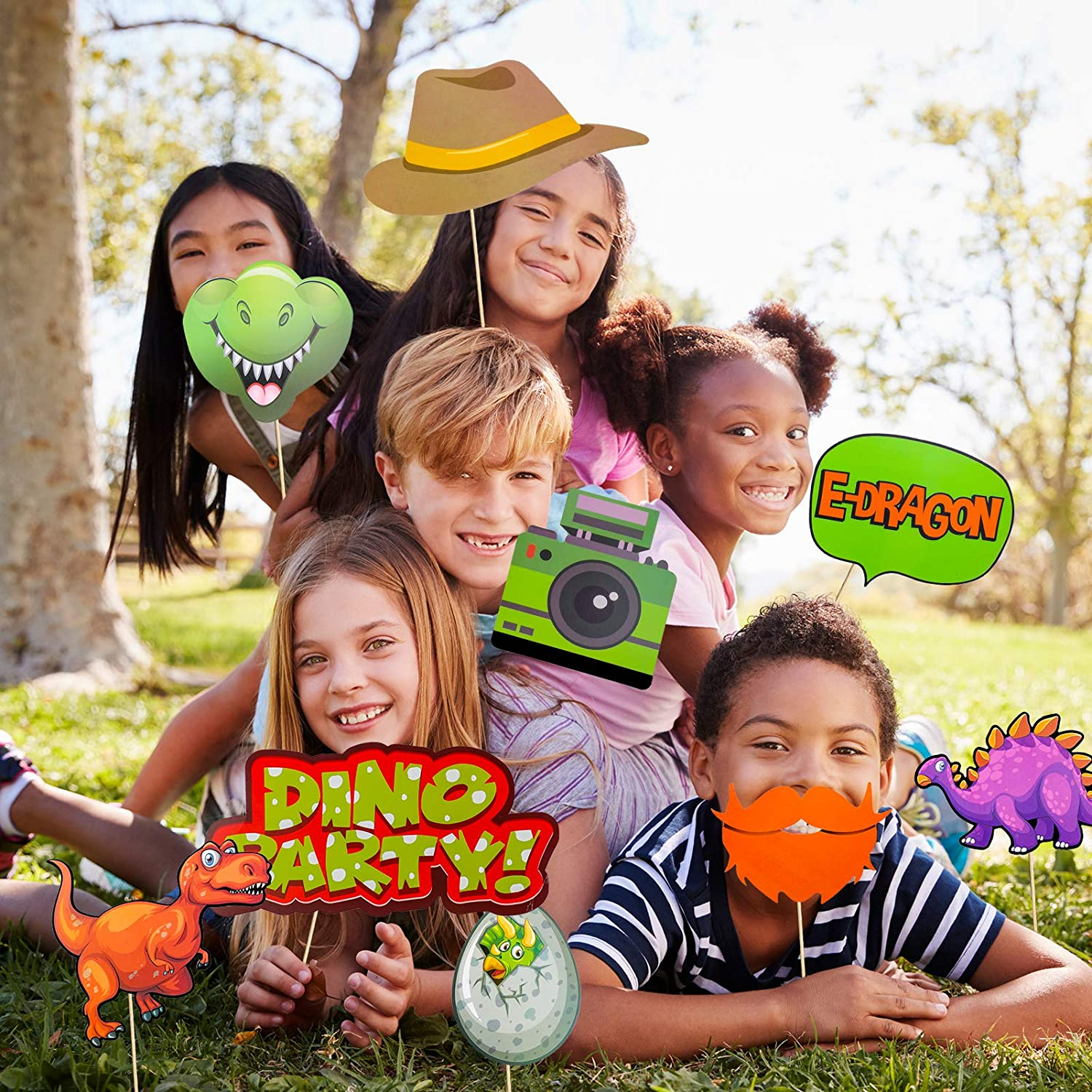 Jurassic World Birthday Party Supplies Qpout Dinosaur Photo Booth Props Kit T-Rex Photography Backdrop Decoration 32 Count Dinosaur Birthday Party Favor Selfie Props for Boys Kids