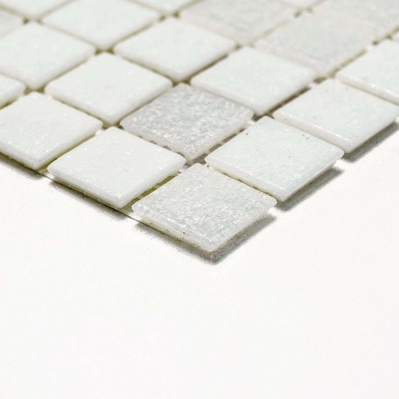K654 Carrelage de mosa/ïque en verre carr/é Blanc 4 mm