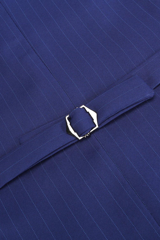 CMDC Men's 3 Pieces Business Suits Slim Fit Stripe Blazer Jacket Vest Pants Set SI137 (Blue,40) by CMDC (Image #5)