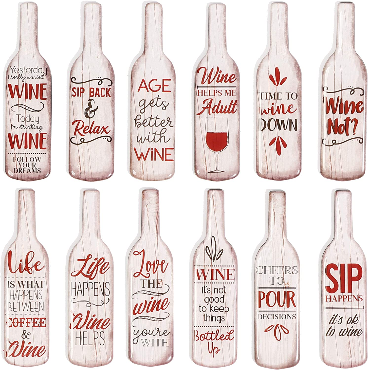 Fun Wine Bottle Magnets for Refrigerators (4 in, 12 Pack)