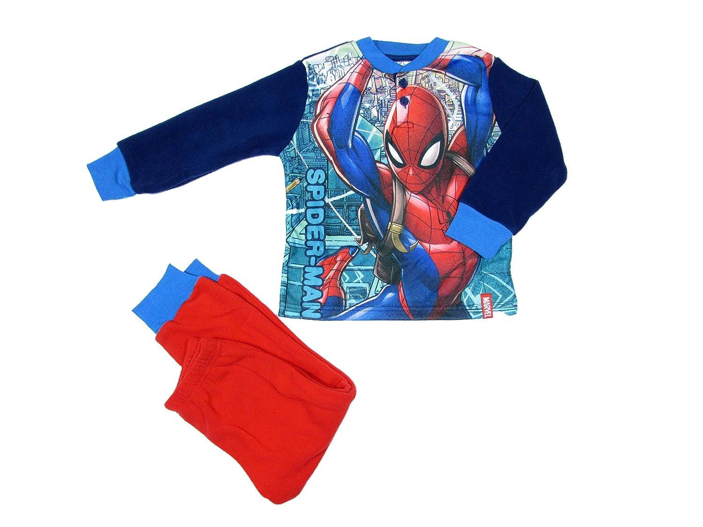 SUN CITY Pigiama Bambino in Pile Marvel Spiderman Invernale, con Polsini - Art. 7565