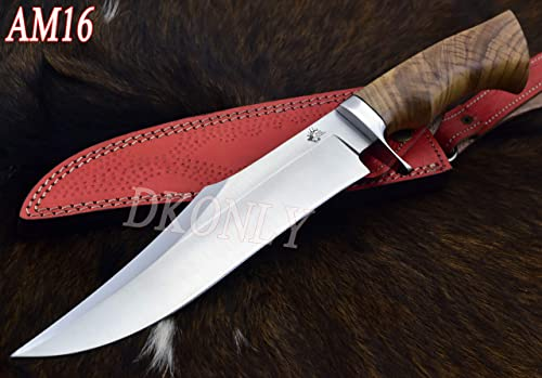 DKONLY-BLADES USA 14.5 Custom Handmade D2 Steel Hunting Knife with Olive Wood Handle Leather Sheath AM16