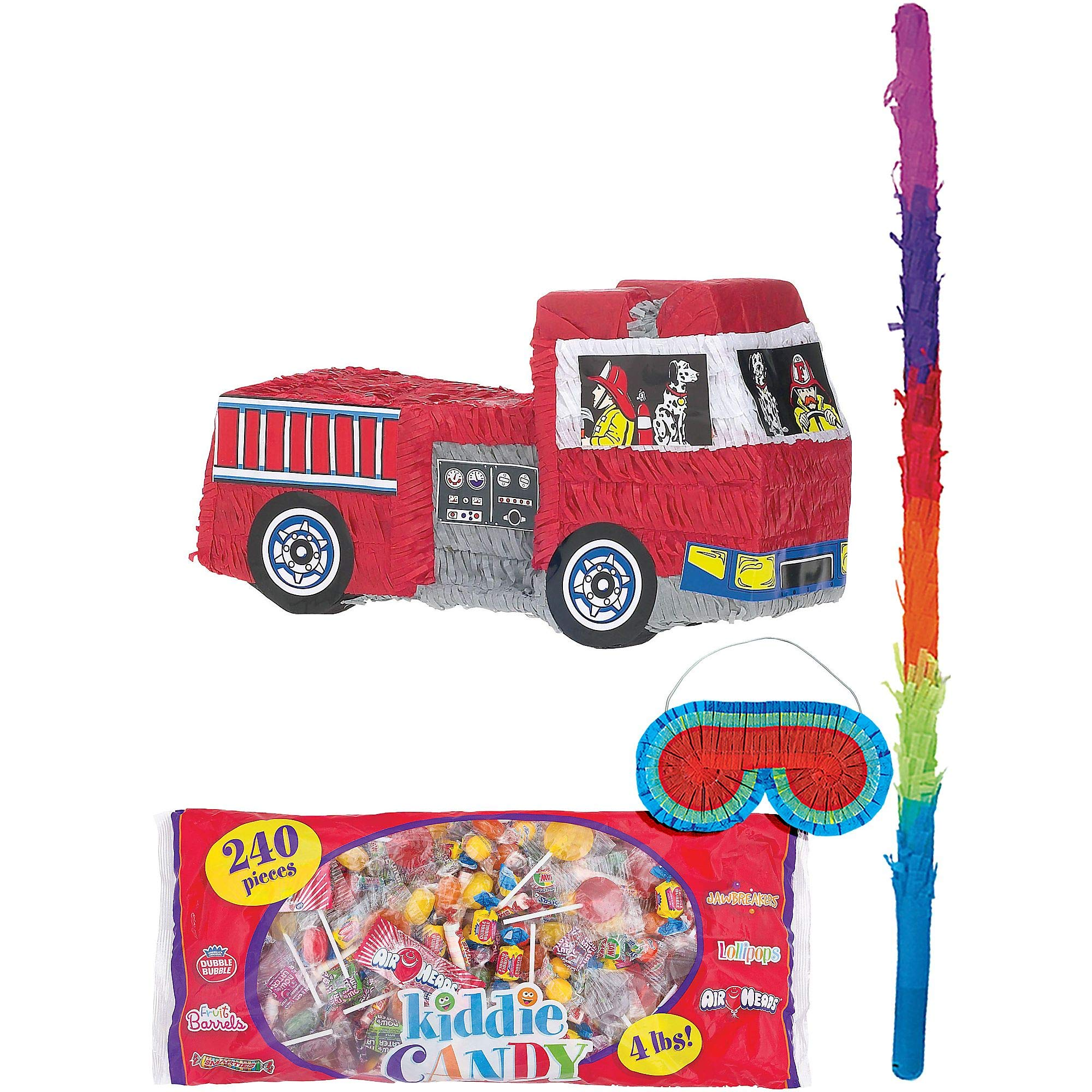 Party City Fire Engine Pinata Kit for Birthday Party, Includes Bat, Blindfold and Kiddie Candy Mix (4lb bag)