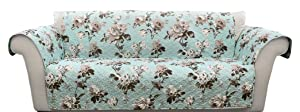 Lush Decor Tania Floral Sofa Furniture Protector, Blue/Gray