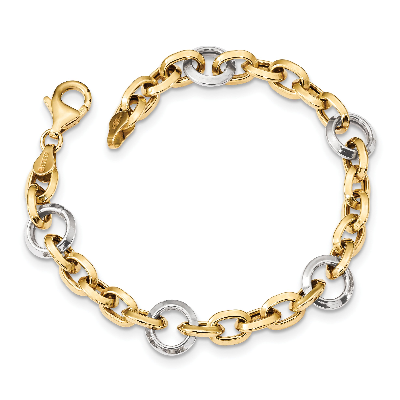 ICE CARATS 14k Two Tone Yellow Gold Link 7 Inch Bracelet Fancy Fine Jewelry Gift Set For Women Heart