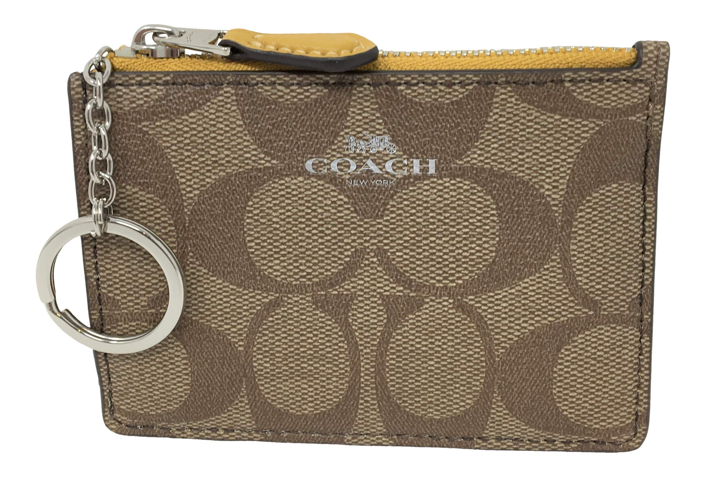 Coach F16107 Mini Skinny ID Badge Key Ring Case Khaki Flax by COACH