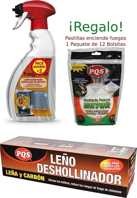 FuegoNet Limpiador para cristales de estufas Pack 2x750 ml + LEÑO ...