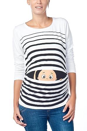 pourtant pas vulgaire magasin meilleurs vendeurs comment choisir Vêtement de Maternité Humoristique T-Shirt Mignon à Motifs Cadeau pour  Grossesse Femme Humour Tee Haut Vetement de Maternite à Manches Longues