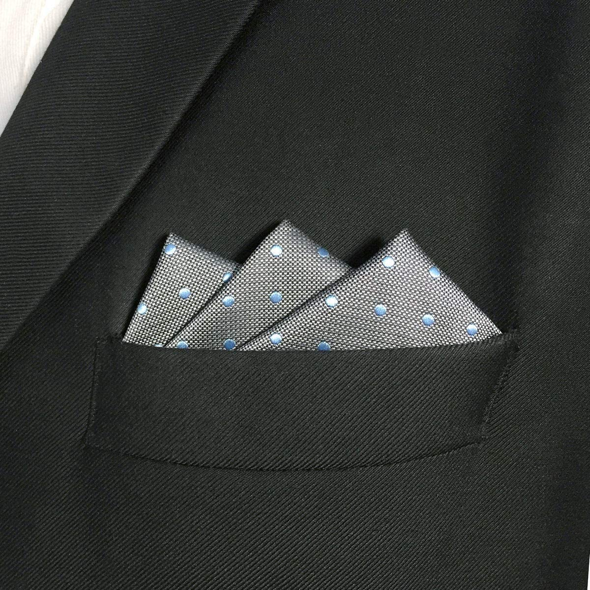 SHLAX/&WING Grey Blue Dots Mens Pocket Square Silk Large Hanky For Business