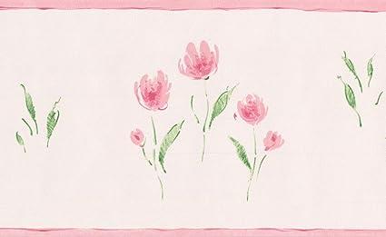 32ce863d9bea5 Rose Meadow Flowers Blush Pink Vintage Floral Wallpaper Border Retro ...