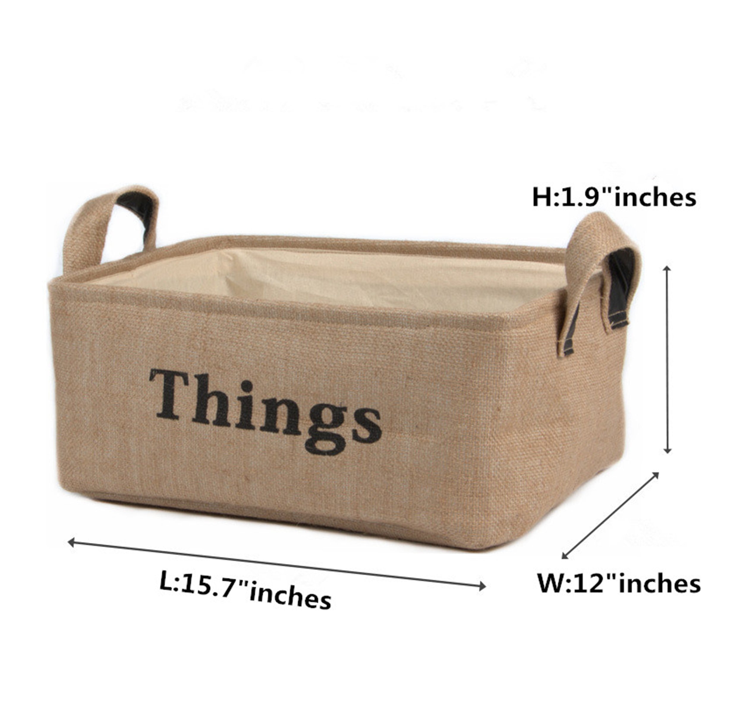 "HIYAGON Rectangle Storage Bin-Fabric Storage Baskets with Leather Handle for for Clothes Storage,Laundry,Toy Organizer,Shelf Basket,Baby Nursery(Thing) - Dimensions (each): 15.7"" (L) x 12"" (W) x 7.9"" (H) inches. Eco-friendly & durable storage bins: Made from natural durable Jute. EVA inside ORGANIZE : The storage bin provides attractive and lightweight solution to many storage needs such as Clothing Storage (especially for underwear, socks, bra, etc.), Home Textiles Storage, Toy Storage, Baby Product's Storage and Pet Product's Storage. - living-room-decor, living-room, baskets-storage - 81RT5Z866CL -"