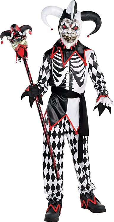 ADULT EVIL JESTER HALLOWEEN COSTUME Sinister Clown Fancy Dress Outfit C7508