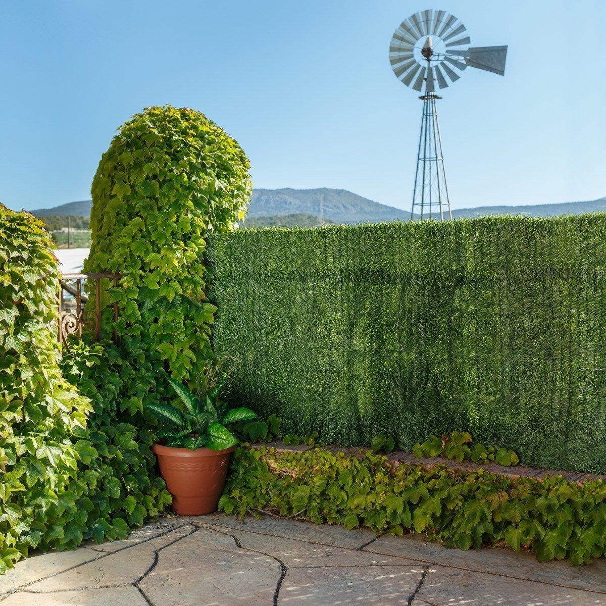 color verde Seto artificial de ocultaci/ón para jard/ín 300 x 150 x 20 cm Ldk Garden 82182