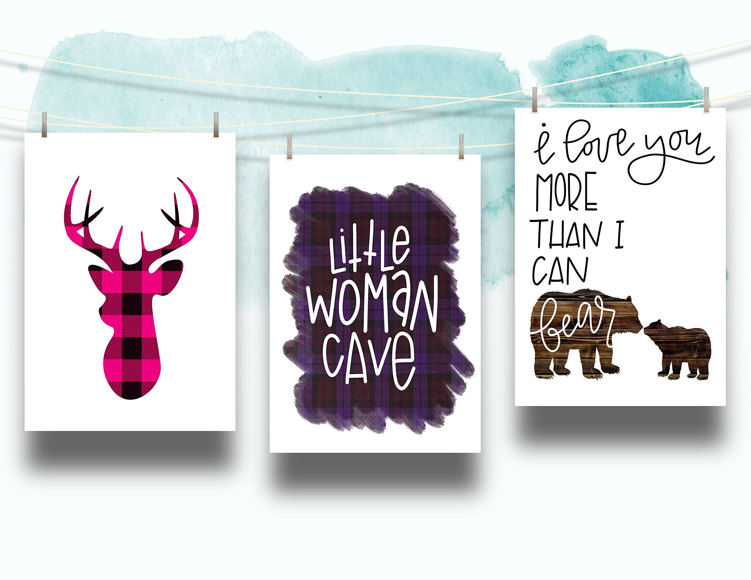 Three Piece Nursery Cardstock Prints 8.5 x11 Pink and Purple ''Woodland Animals''