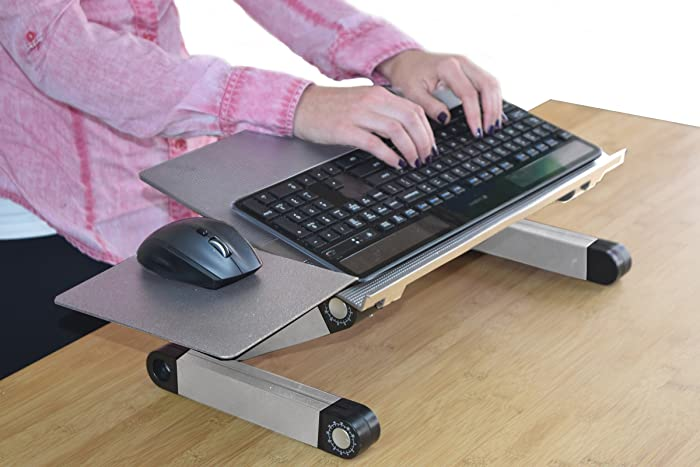 WorkEZ Keyboard and Mouse Tray ergonomic adjustable height angle negative tilt sit to stand up on-desk table-top desktop standing computer stand riser lift raise keyboards to standing height,silver