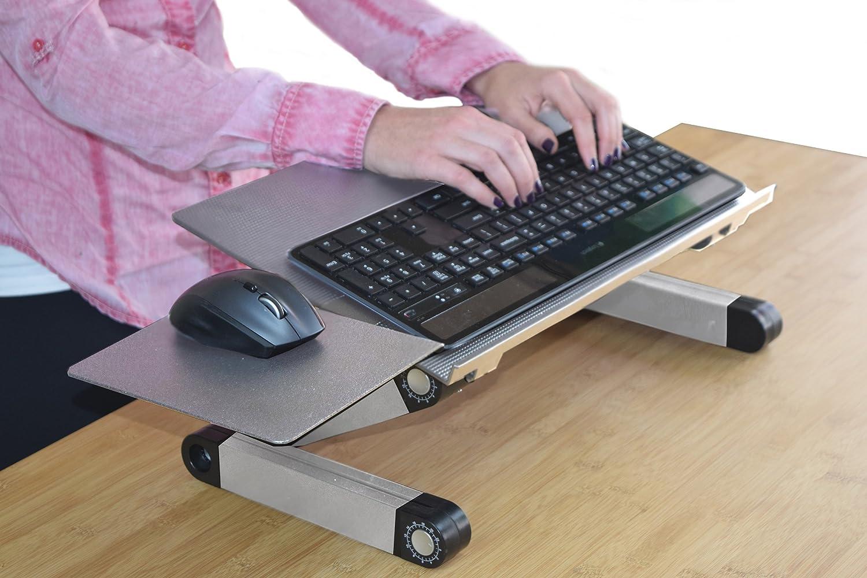 WorkEZ Keyboard Tray Stand Up Adjustable Height & Angle Ergonomic Computer Keyboard Riser For Standing. Portable, Negative Tilt Ambidextrous Mouse Pad Uncaged Ergonomics WEKTs