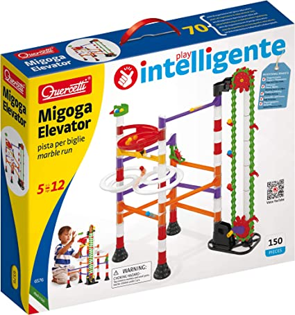 Amazon Com Quercetti Migoga Marble Run With Elevator 150 Piece Building Set With Spirals Funnel And Hand Crank For Ages 5 And Up Made In Italy Toys Games