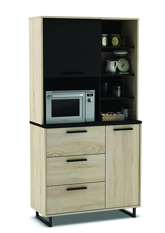 Küchenschrank 933 EICHE-schwarz Schrank Küchenregal Küchenmöbel Singleküche Holz