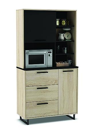Küchenschrank 933 EICHE-schwarz Schrank Küchenregal Küchenmöbel ...