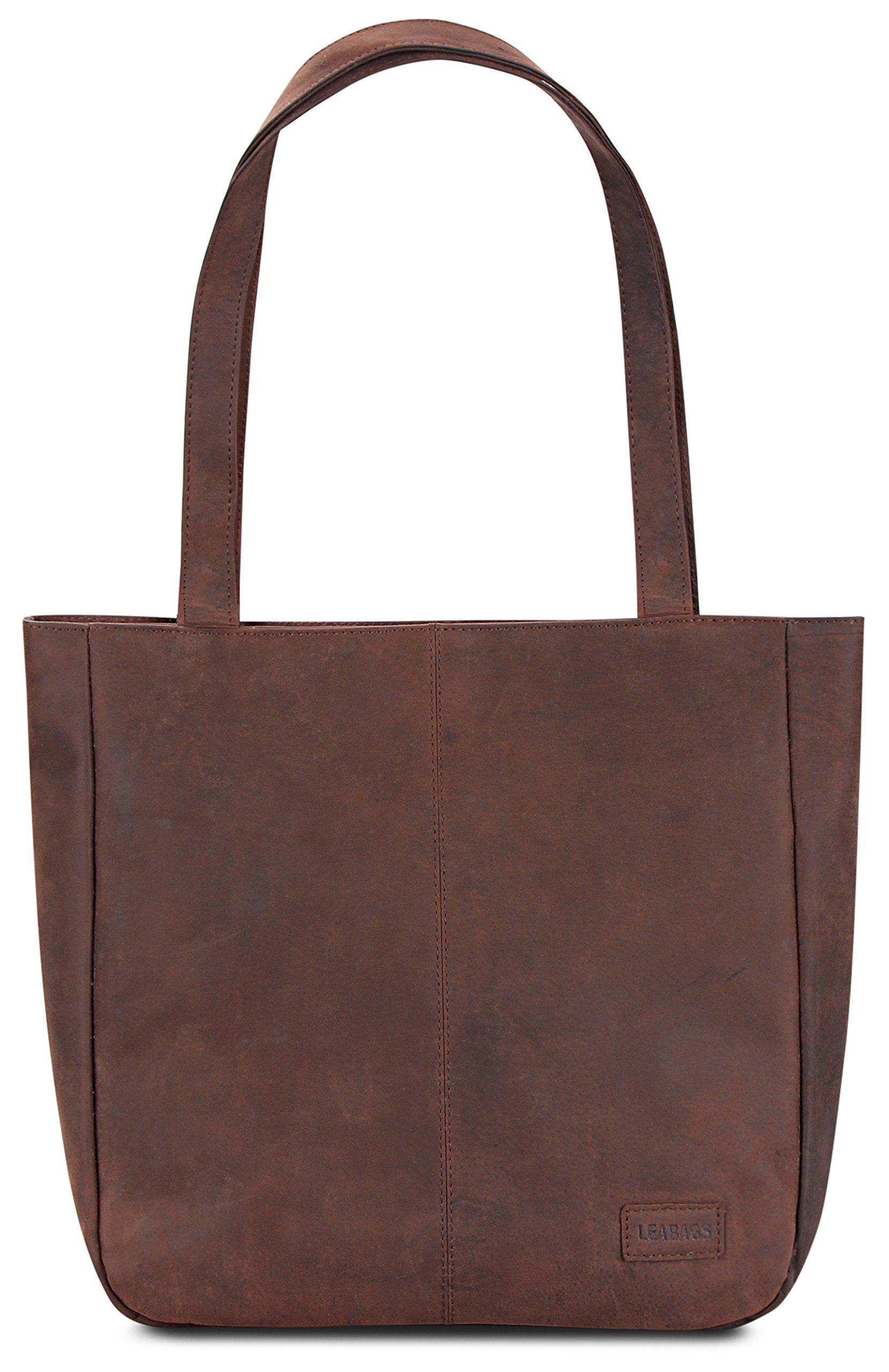 LEABAGS Darlington genuine buffalo leather shopper bag in vintage style - Nutmeg