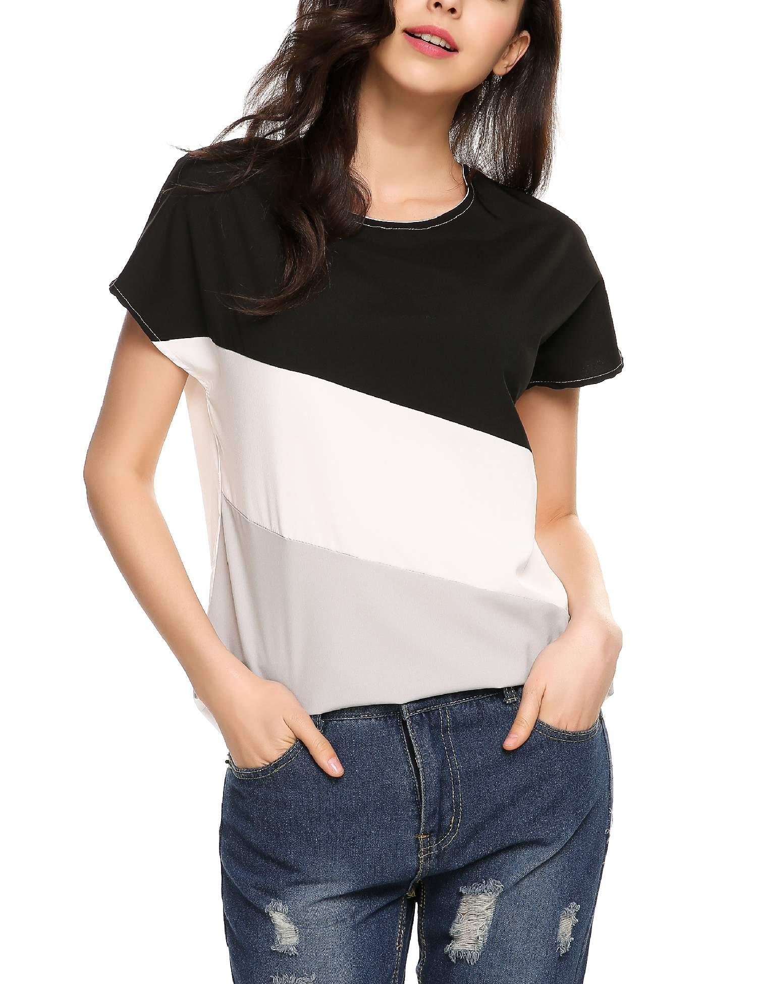 cbb926c4c29d Galleon - ELESOL Women Short Sleeve Casual Loose Color Block Blouse Tops Black  L