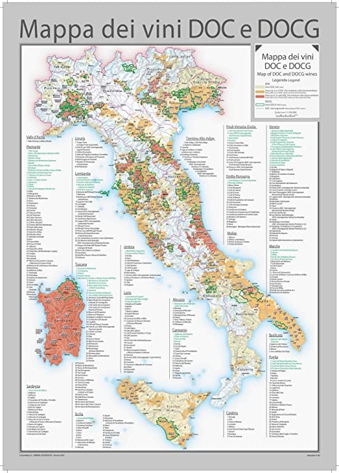 English Map Of Italy.Italy Doc And Docg Wines Wall Map English And Italian 28 X 39 Paper