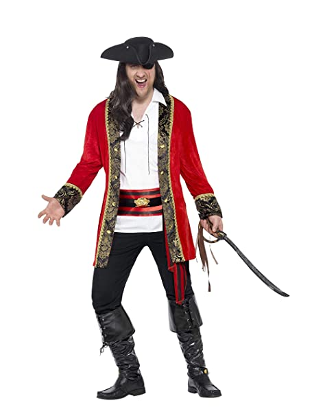 Smiffys Mens Pirate Captain Costume, Jacket, Shirt and Waist sash, Pirate, Serious Fun, Size L, 24464
