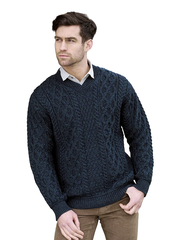 West End Merino Wool Irish Aran V-Neck Sweater