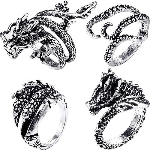 Luminous Dragon Copper Glow In The Dark Ring Punk Steel Mens Women Rings Jewelry