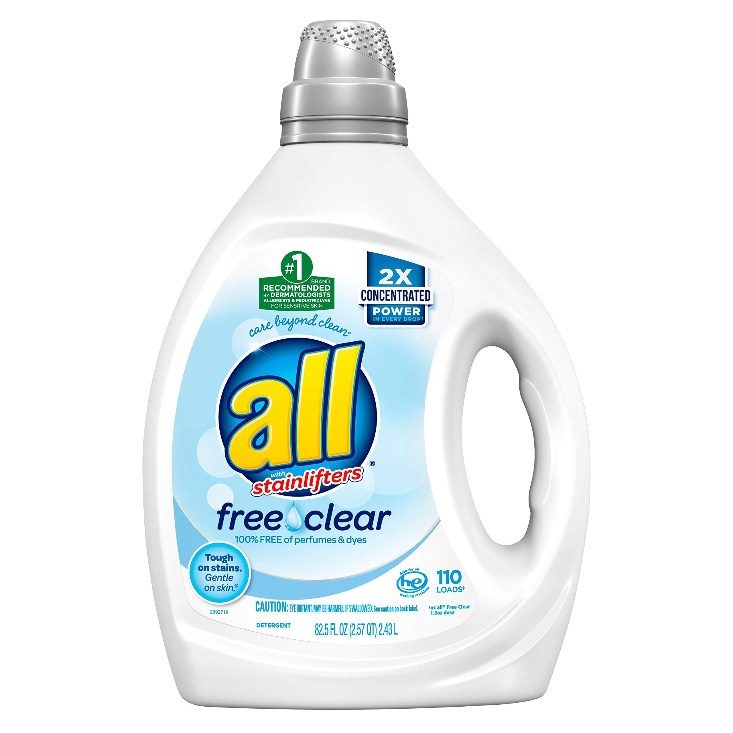 All Liquid Laundry Detergent, Free Clear for Sensitive Skin, 2X Concentrated, 110 Loads by All