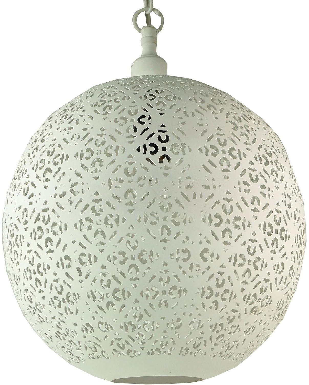 Guru-Shop Weiße Metall Deckenleuchte in Marrokanischem Design, Orientalische Kugel Deckenlampe Weiß, Größe  40x40 cm, Orientalisches Kunsthandwerk