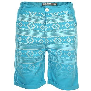 Soulstar Mens Coastline Chino Shorts Casual Aztec Print Roll Up Hem Summer Sale