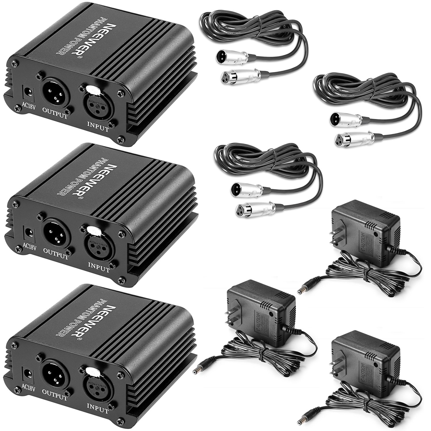 Neewer 3 Pack 1- Channel 48V Phantom Power Supply Black with Adapter and XLR Male to XLR Female Cable, 8 Feet, for Any Condenser Microphone Music Recording Equipment, Ideal for Stage and Studio Use by Neewer