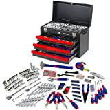 WORKPRO W009044A Mechanics Tool Set with 3-Drawer Heavy Duty Metal Box (408 Piece)