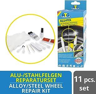 ATG ALU-FIX Alloy Wheel Repair Kit | Surface Damage on Alloy & Steel Wheels | Rim Repair Kit | Wheel Brush | Automotive Paint