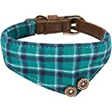 Extra Small Dog and Cat Collar with Cute Plaid Bowtie. Adjustable 5 Holes to Also Fit Puppy and Kitten. Quality PU Leather and Durable Polyester