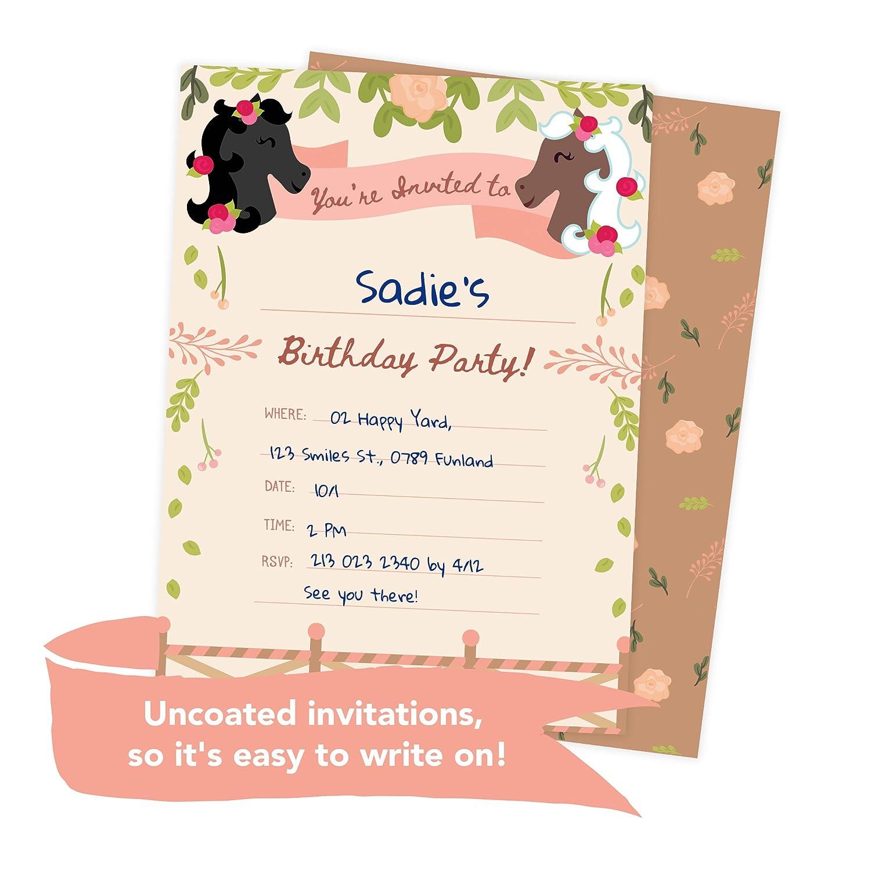 Amazon.com: Pony Horse Style 3 Happy Birthday Invitations Invite ...