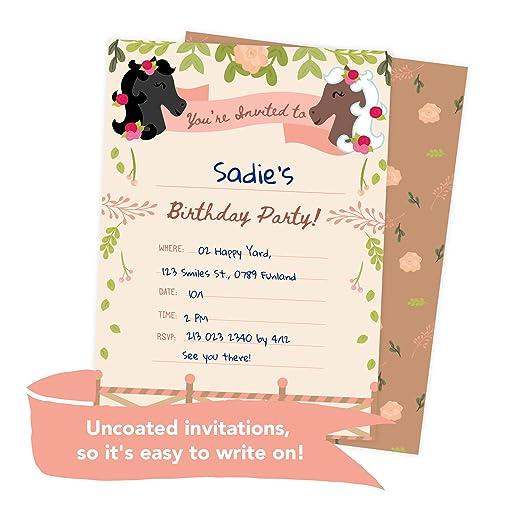 Amazon Pony Horse Style 3 Happy Birthday Invitations Invite