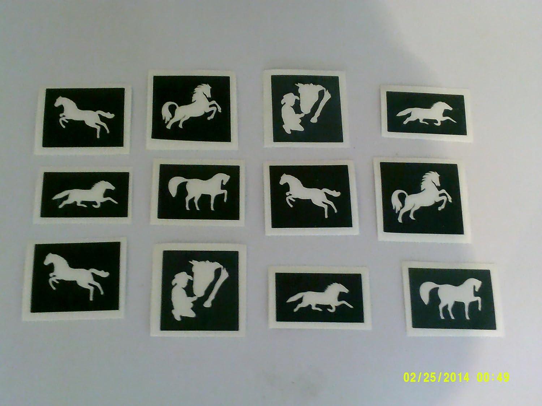 30 x Pferd Themen Schablonen (gemischt) für Glitzer Tattoos / Kuchen ...