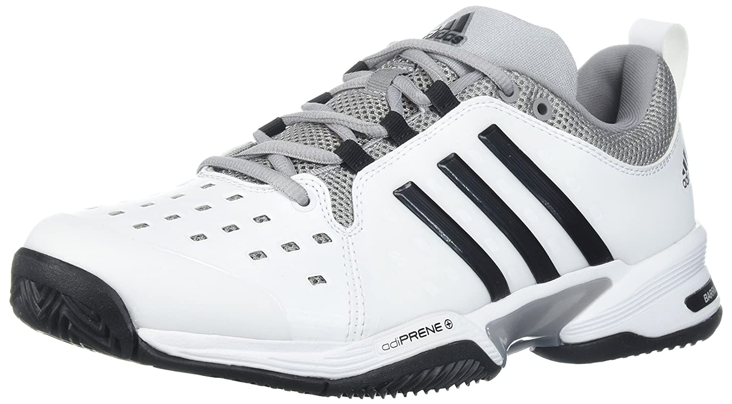 adidas Barricade Classic Wide 4E Tennis Shoe, Black/Silver Metallic/White, 6 M US B01H19MBV8 5 W US|White/Black/Mid Grey