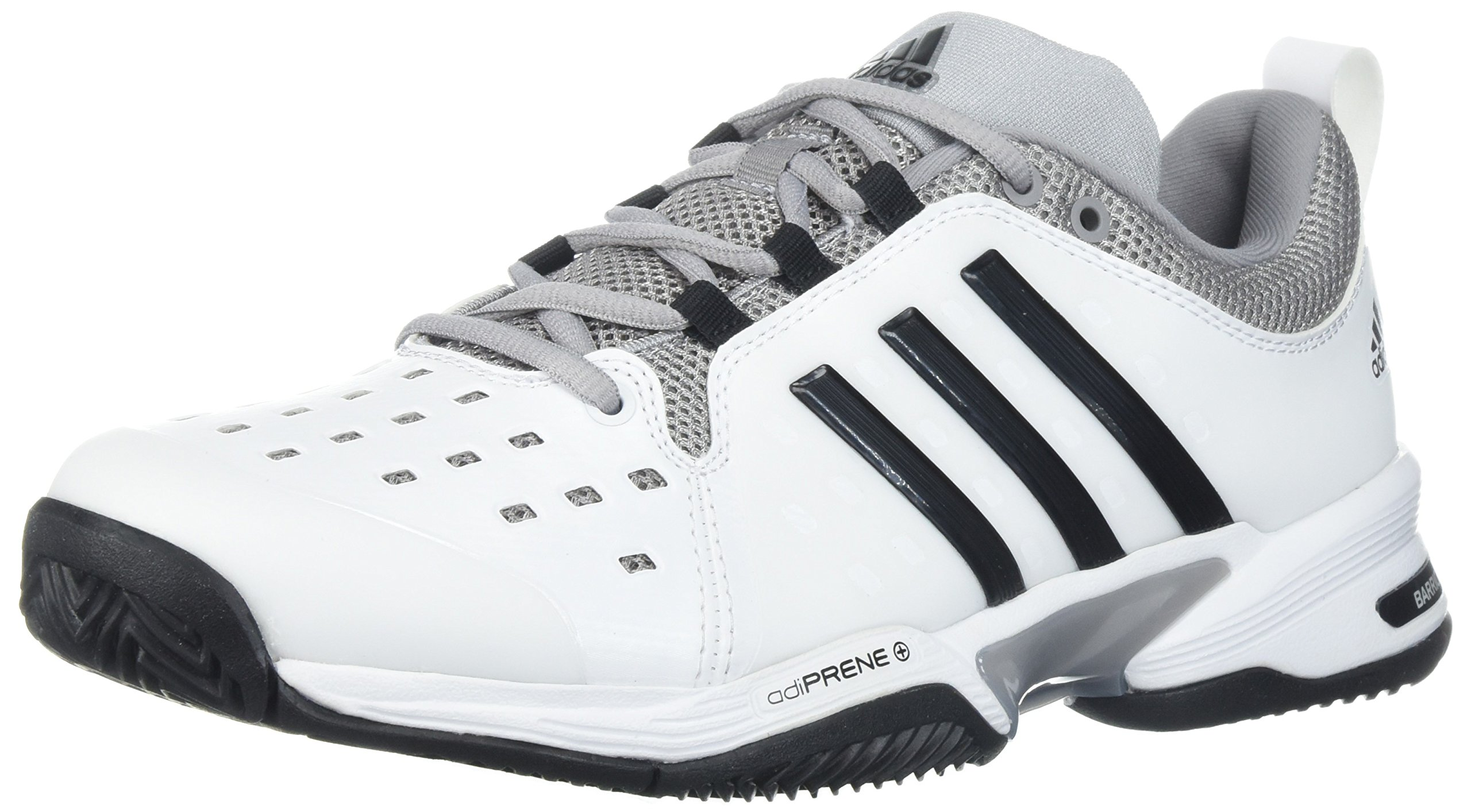 adidas Barricade Classic Tennis Shoe, White/Black/Mid Grey, 4 Wide US by adidas