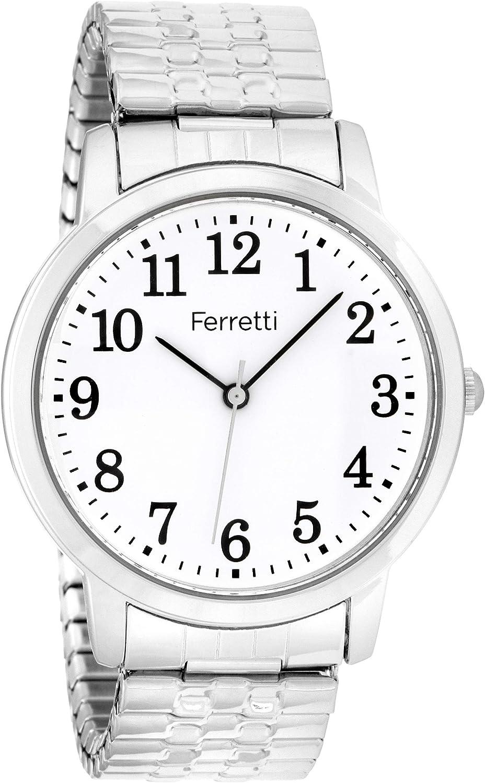 Ferretti Unisex   Pulsera de Expansión Clásica Reloj de Número Grande   FT161