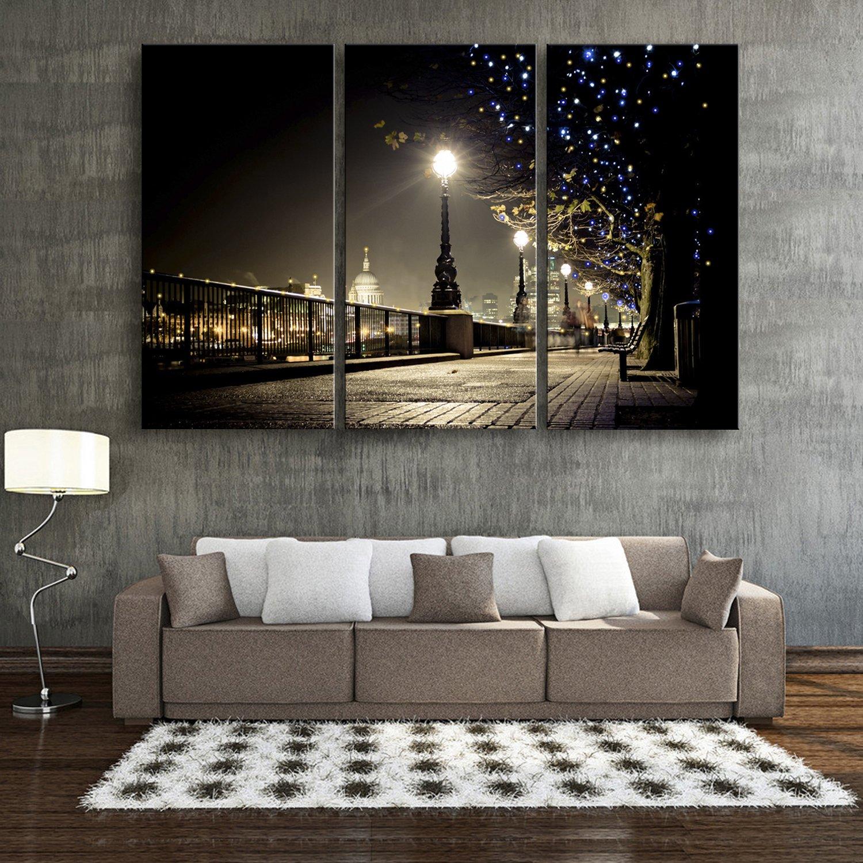 E-HOME 輝く装飾画 美しい街灯 る インテリア LED飾り絵 ledキャンバスプリントを LED光ファイバ飾り絵 (40x80cm*3pcs) B07663DQSS40x80cm*3pcs